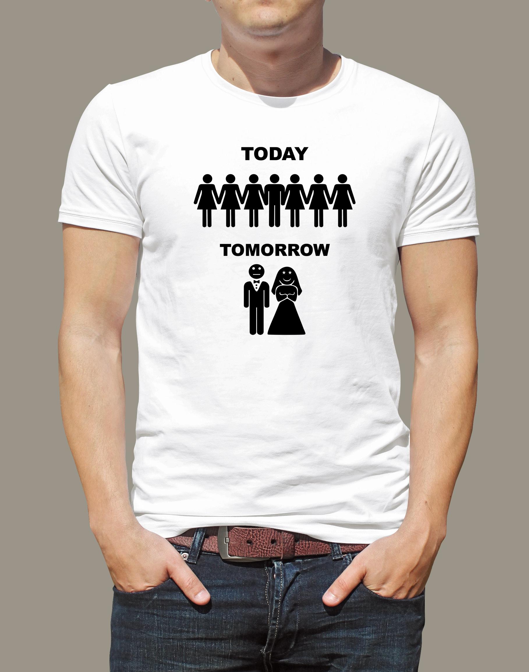 Levně Pánské tričko bílé - Today, tomorrow XL
