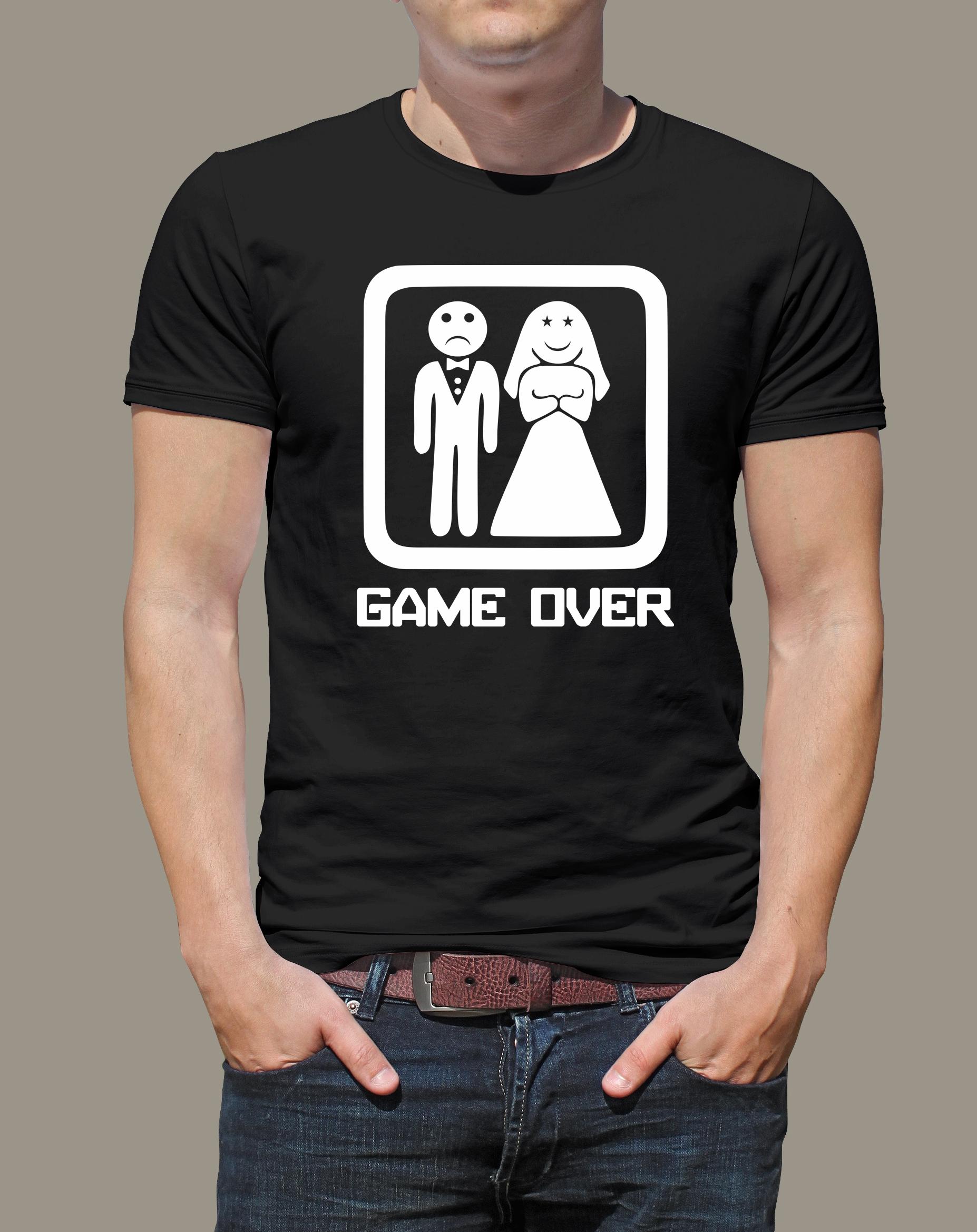 Levně Pánské tričko Game over černé Černé tričko s bílým potiskem M