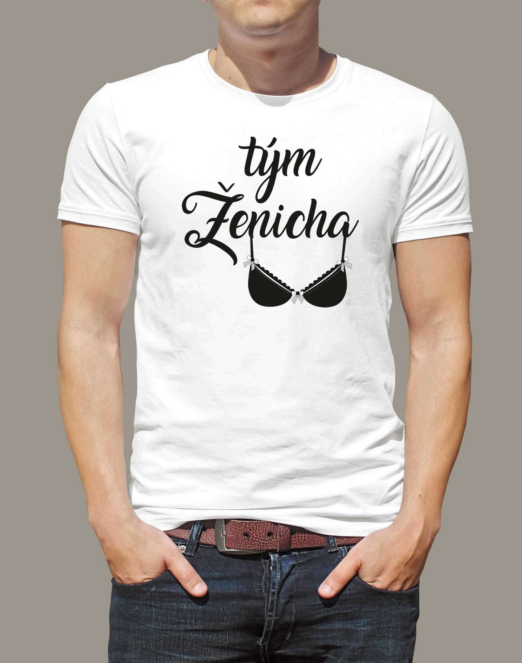Levně Pánské tričko Tým ženicha 2 Bílé tričko s černým potiskem M