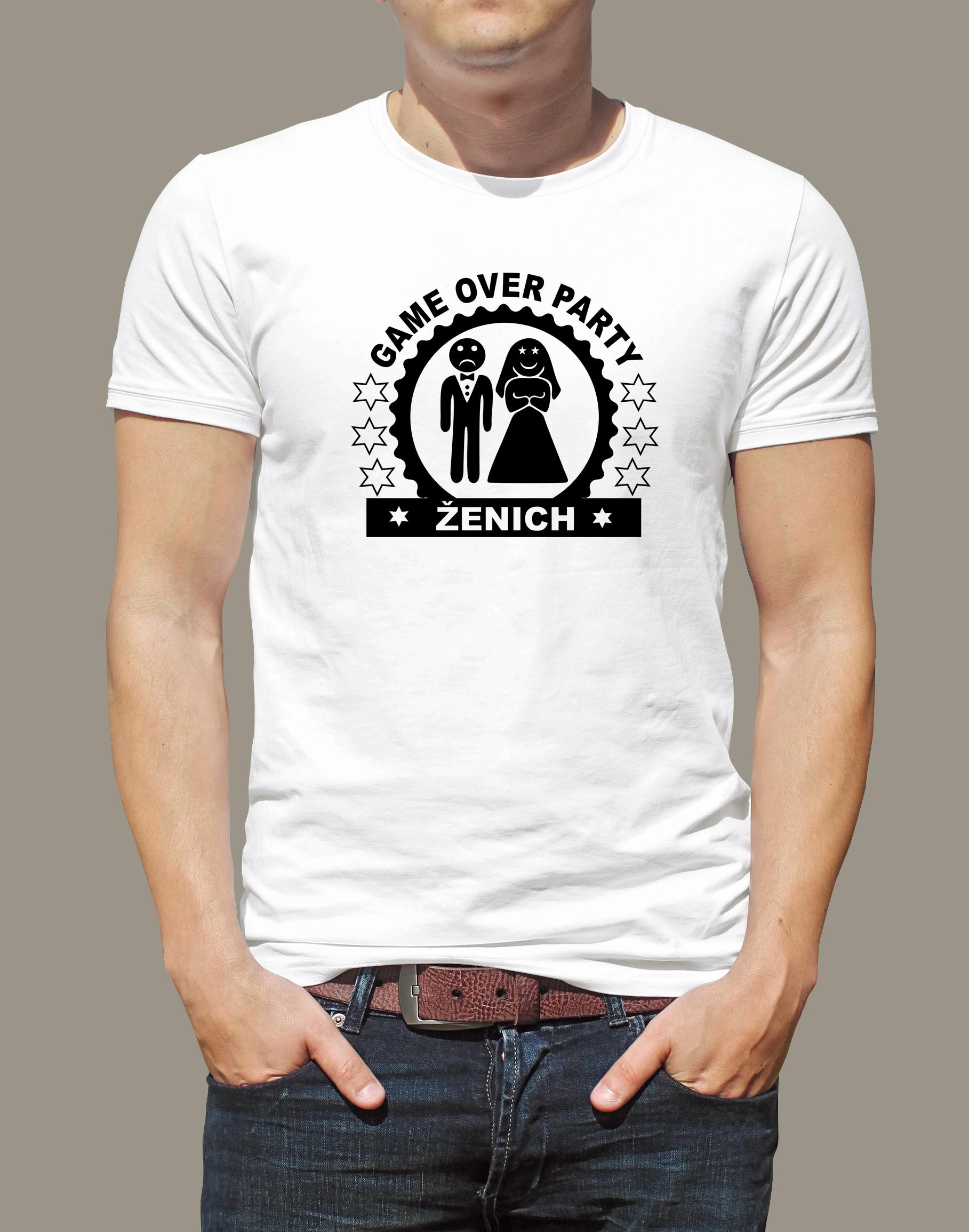 Levně Pánské tričko Ženich bílé Bílé tričko s černým potiskem XL
