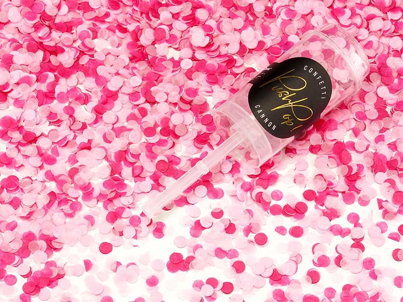 Levně Vystřelovací konfetky Push Pop růžový mix