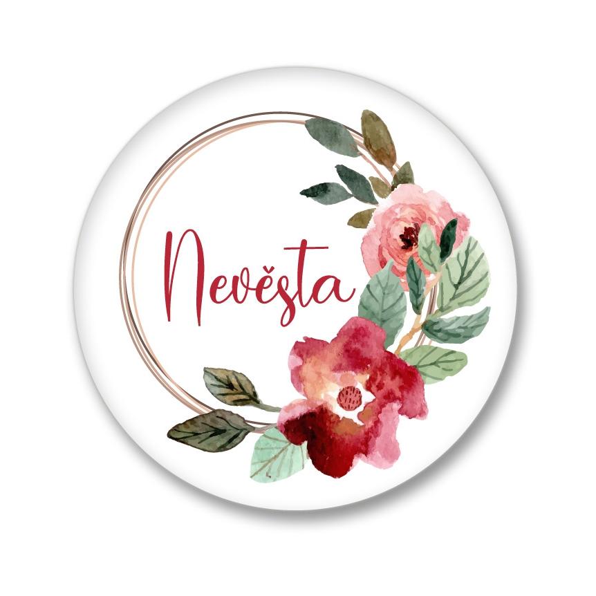Levně Placka akvarelový věneček - Nevěsta 56 mm
