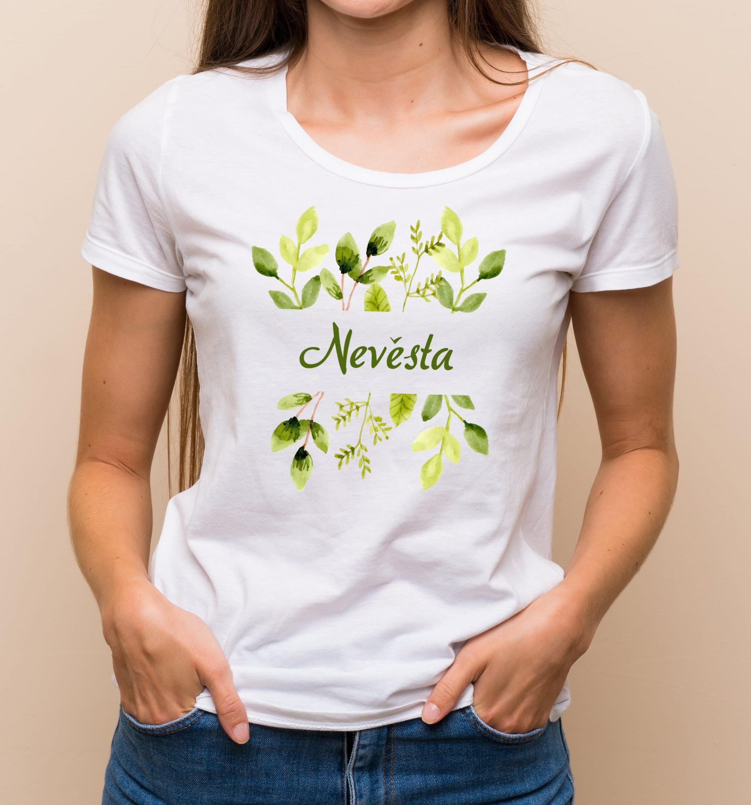 Levně Květinové tričko zelené lístky - Nevěsta Bílé tričko s plnobarevným potiskem L